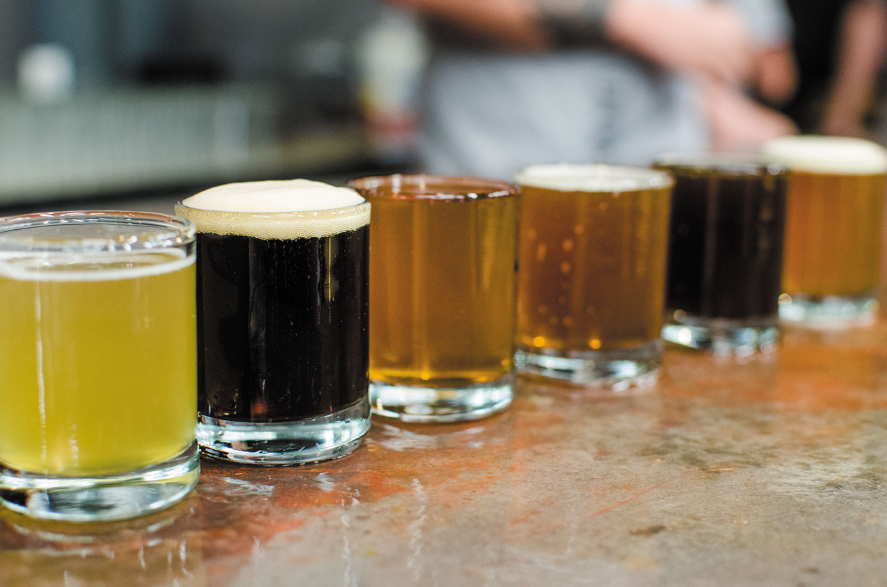 From left: Wheat, Black IPA, Patersbier, Gingerbread, Wee Heavy, Pale