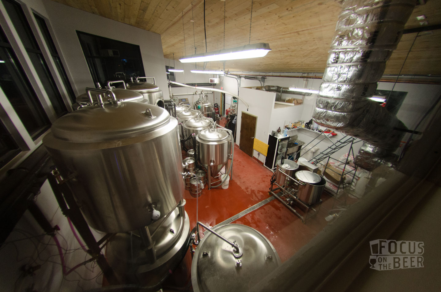 Looking down into the brew house.