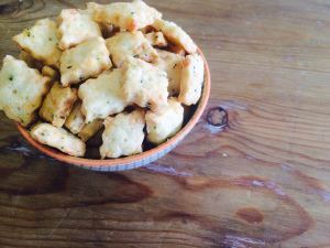 Little homemade cheese crackers for guests.