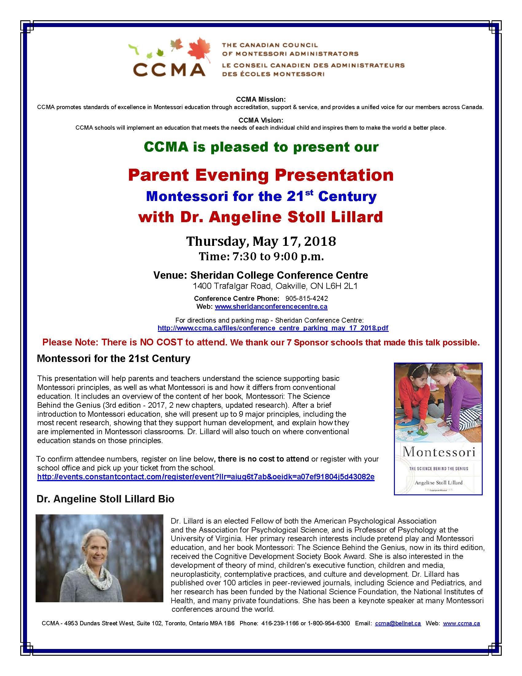 Parent Evening Presentation Flyer - Angeline Stoll Lillard
