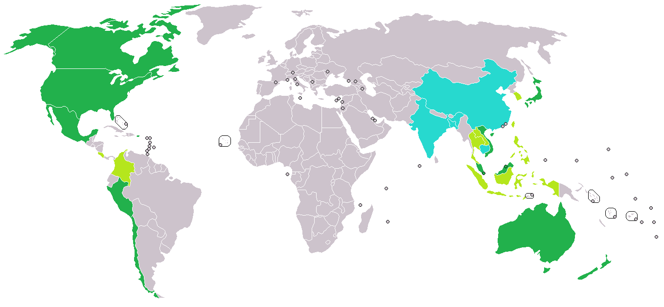 Prospective TPPA members (green), states invited to join TPPA negotiations (lime), and countries desiring to join TPPA negotiations (cyan). (Source: Wikimedia Commons)