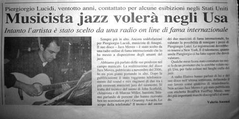 Piergiorgio Lucidi on Il Quotidiano di Frosinone - March 2007 - Click to read this article