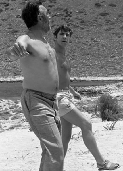 Rehearsing with Alan Bates on the beach in Crete during the filming of  Zorba the Greek , 1964