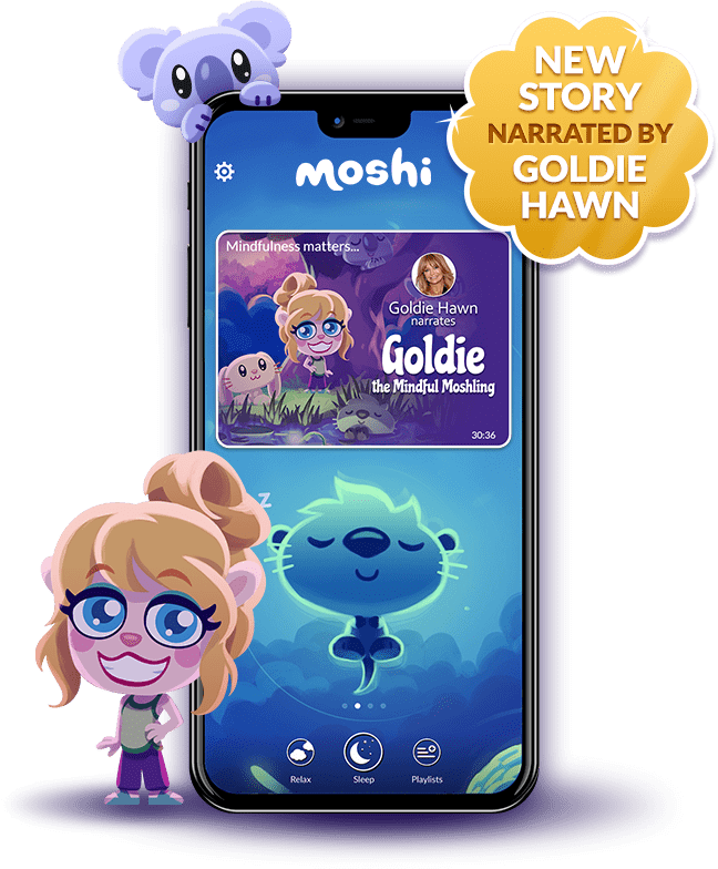 Moshi Sleep Phone displaying app with Goldie Hawn