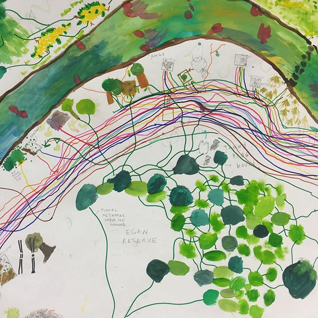 Mapping square metres along the Merri Merri w 5/6s and @brionybarr. This is our memory map that is going to continue to build up through layers and layers of stories, memories and learning along the creek! #mapping #layers #memories #morelandprimaryschool #wurundjeriland #morelandcouncil #merricreek
