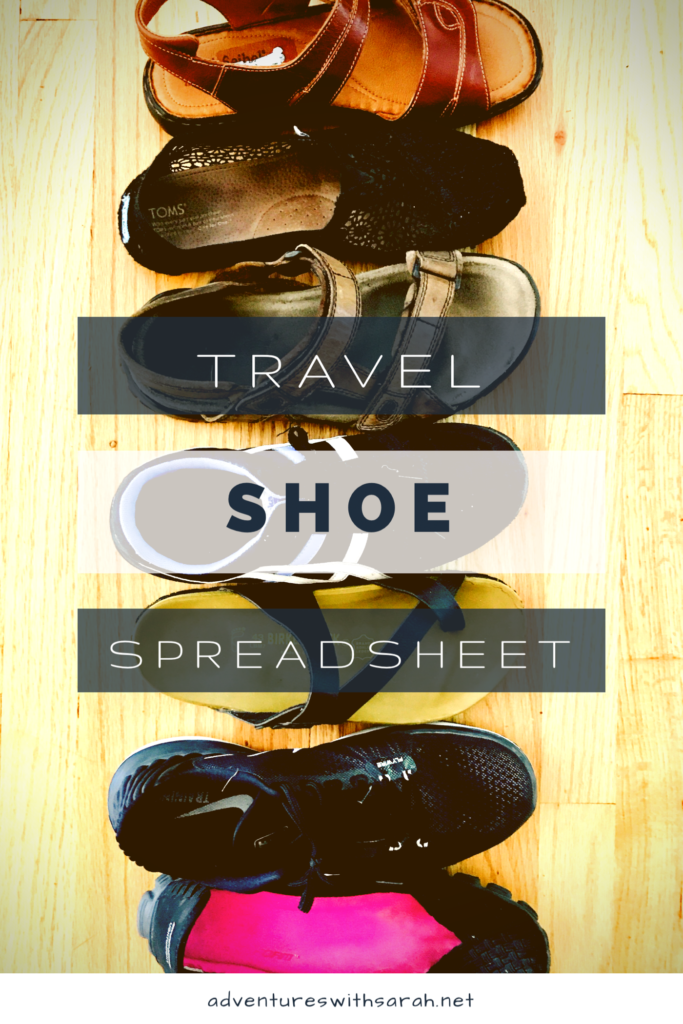 Travel Shoes Spreadsheet