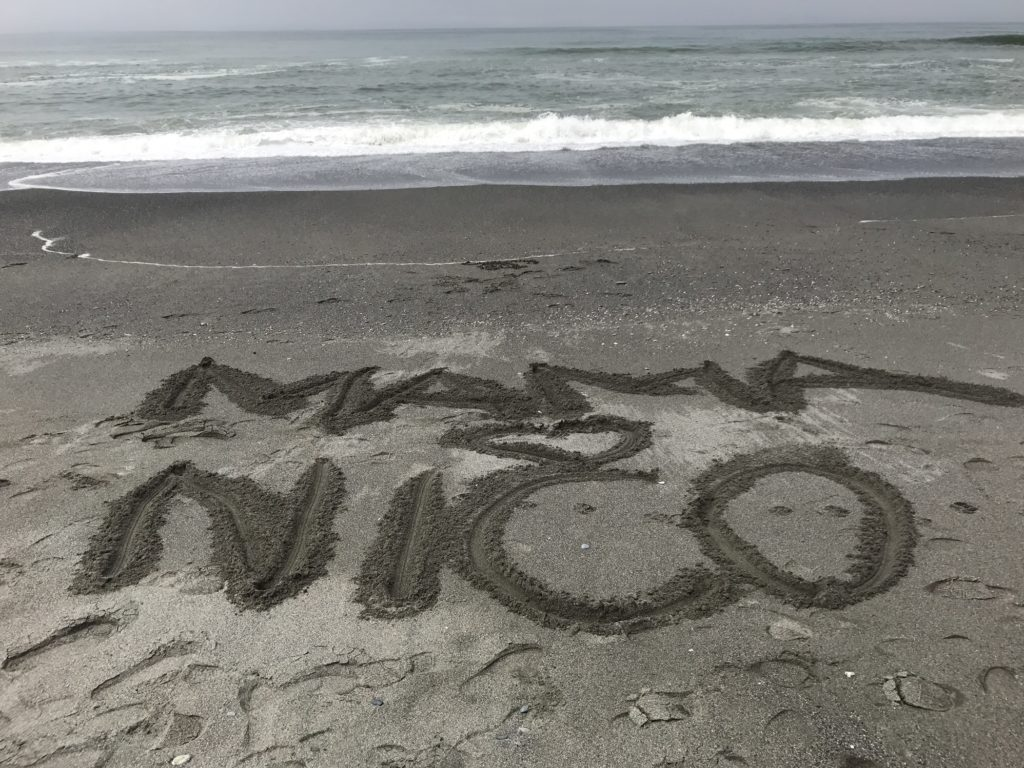 Mama and Nico at the beach
