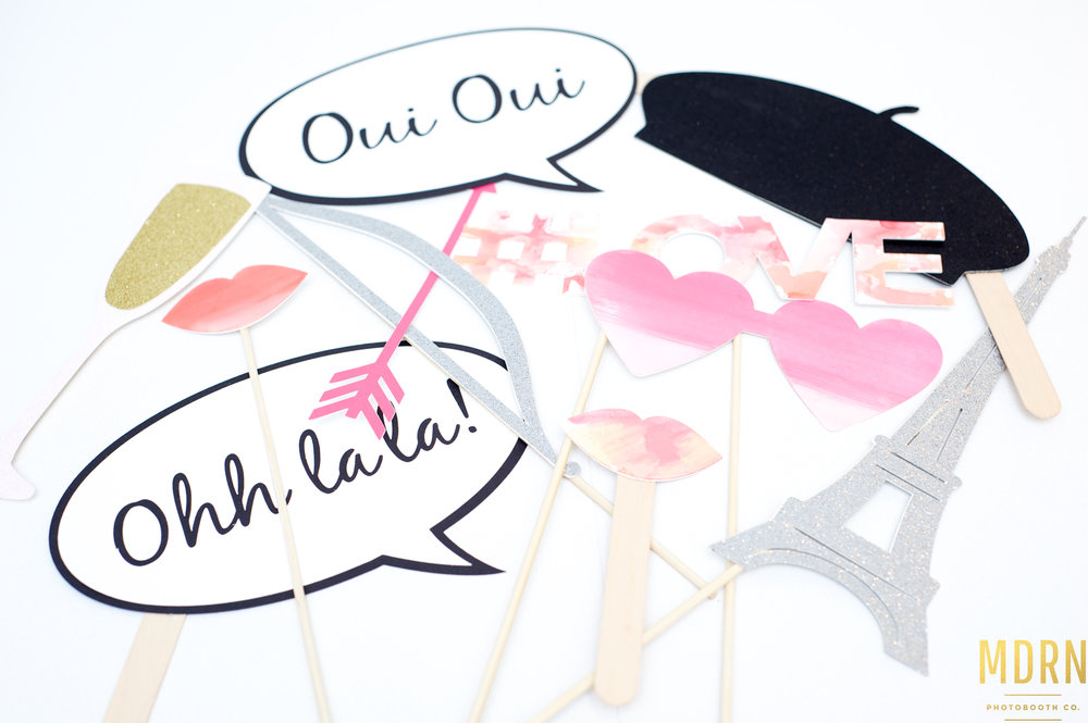 Valentines day photobooth props from MDRN Photobooth Company