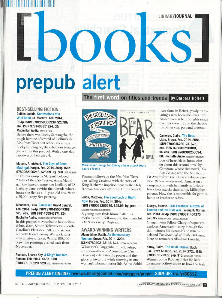 The Bear in Library Journal — CLAIRE CAMERON | AUTHOR