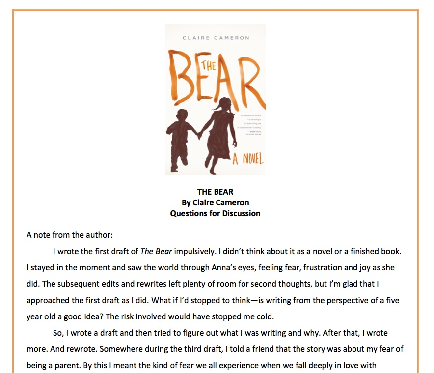 TheBear_ClaireCameron_ReadingGroupGuide_pdf__page_1_of_2_