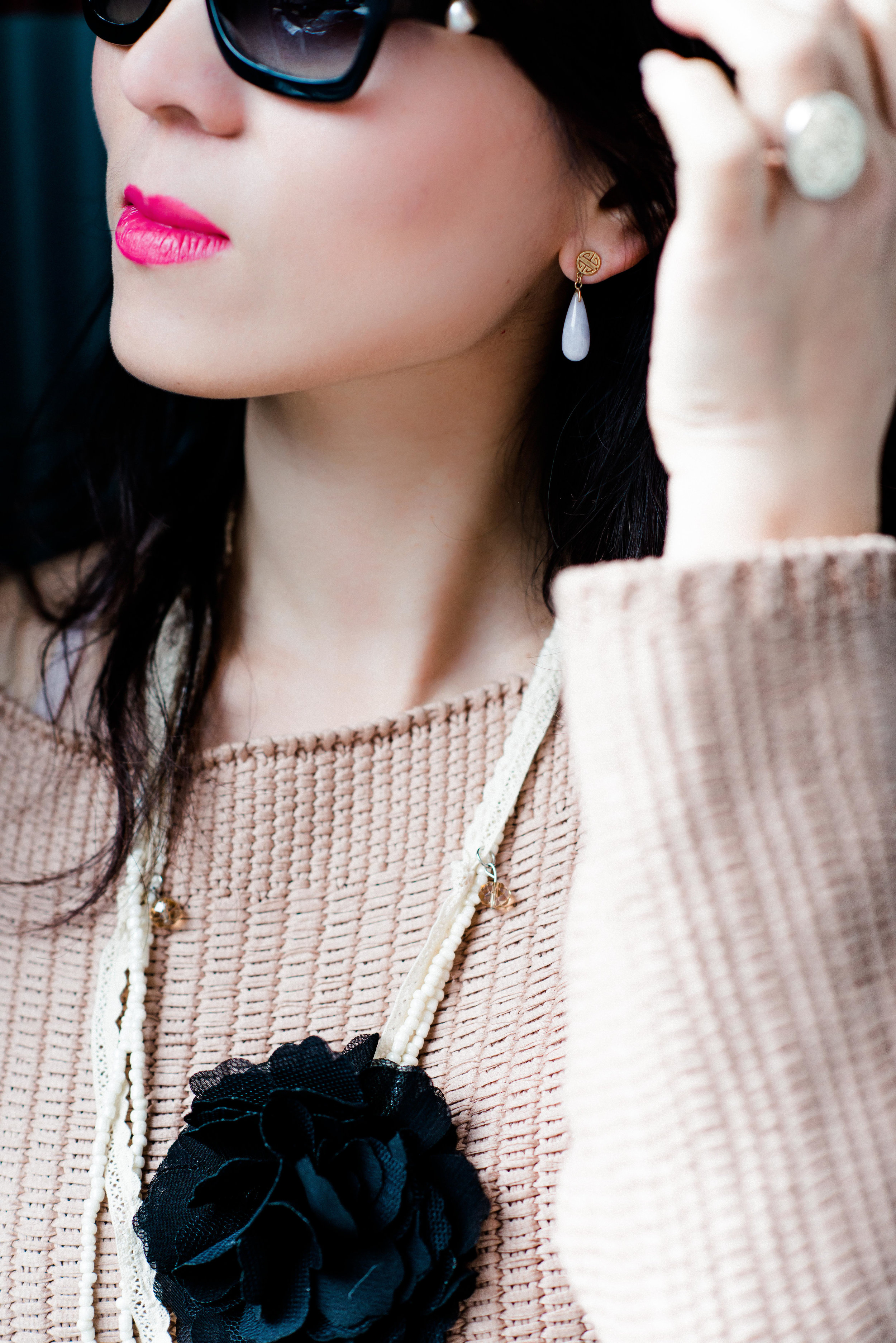 pink sweater with long black skirt and camel long coat-7746