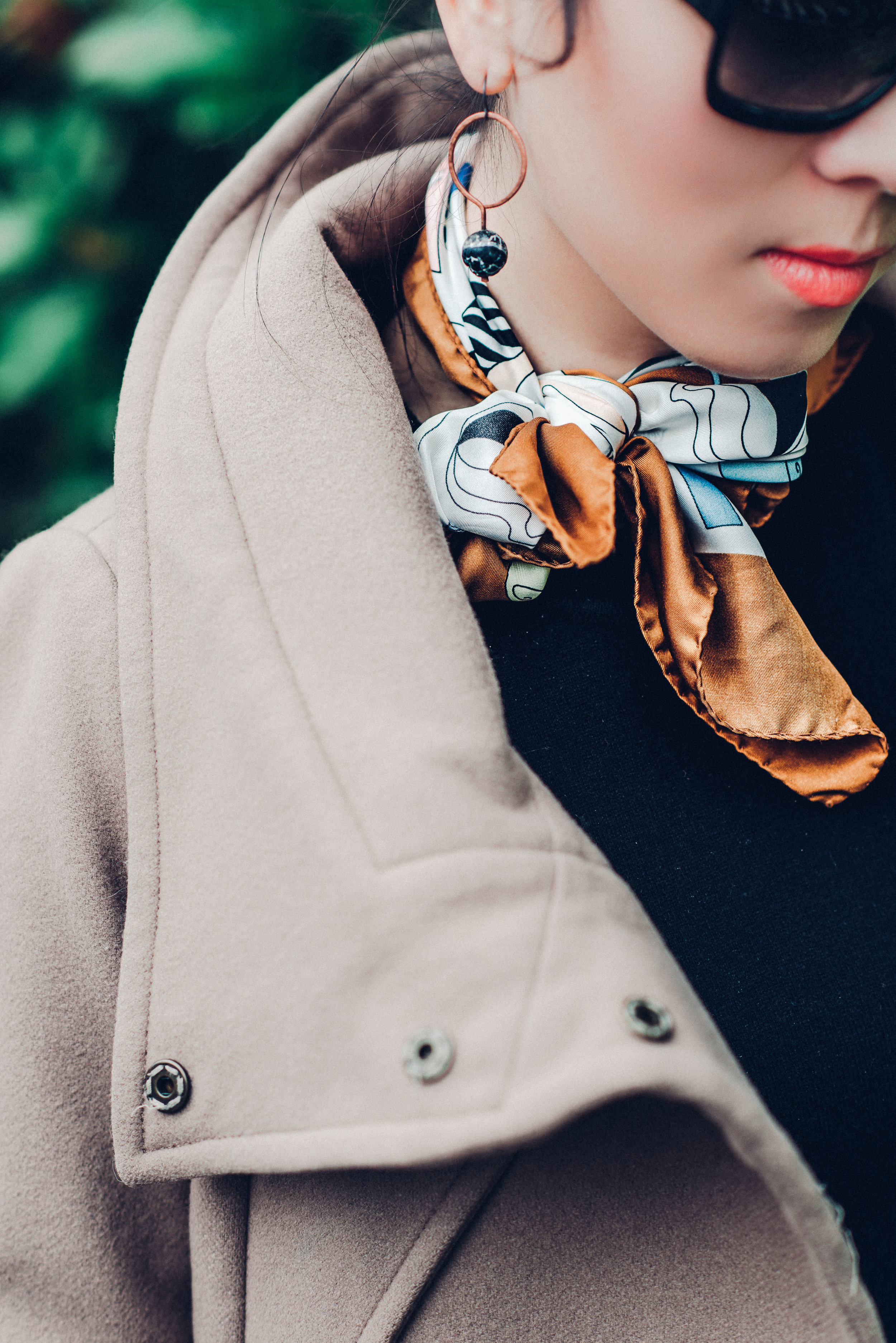 Black sandro sweater dress with scarf-8118