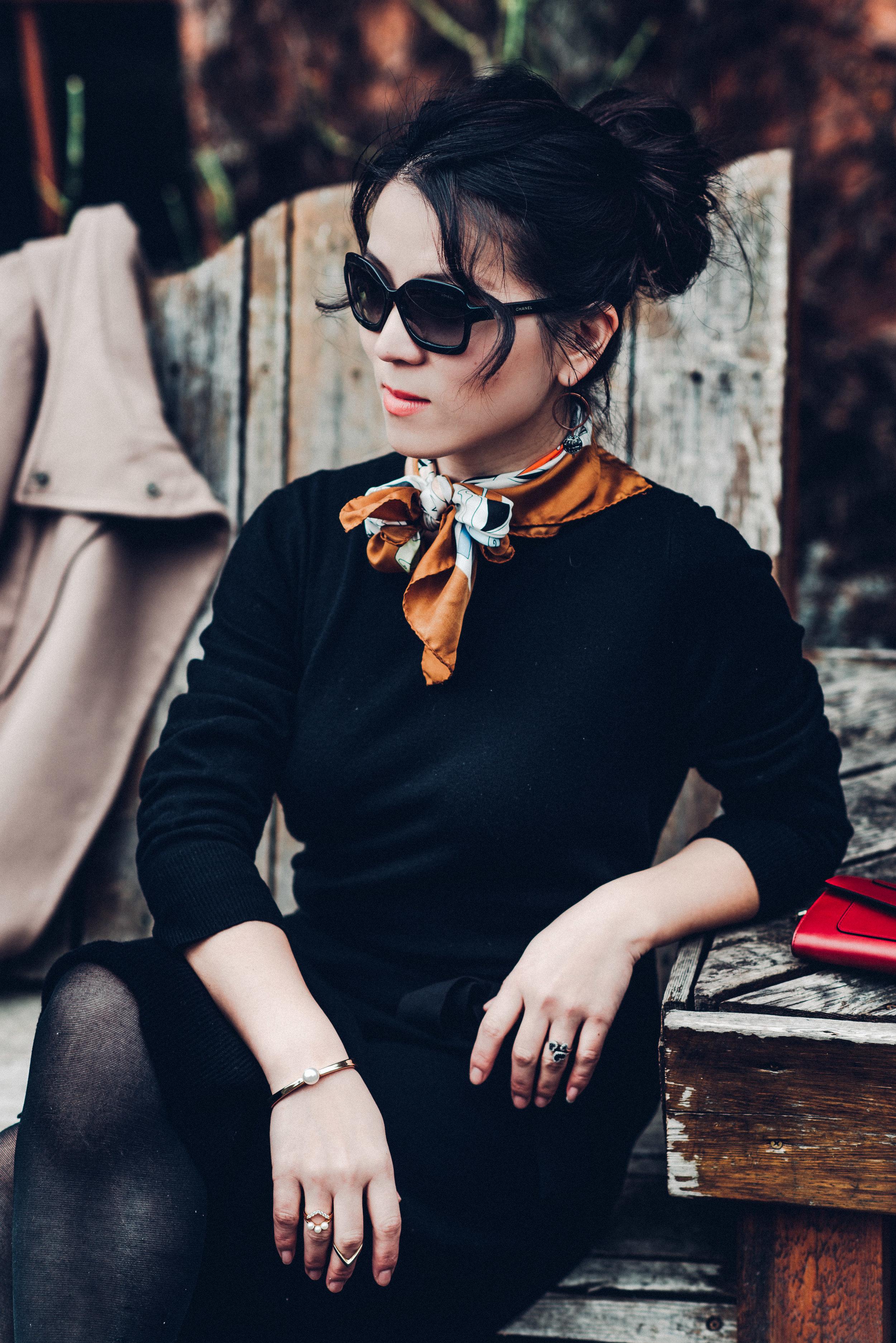 Black sandro sweater dress with scarf-8139