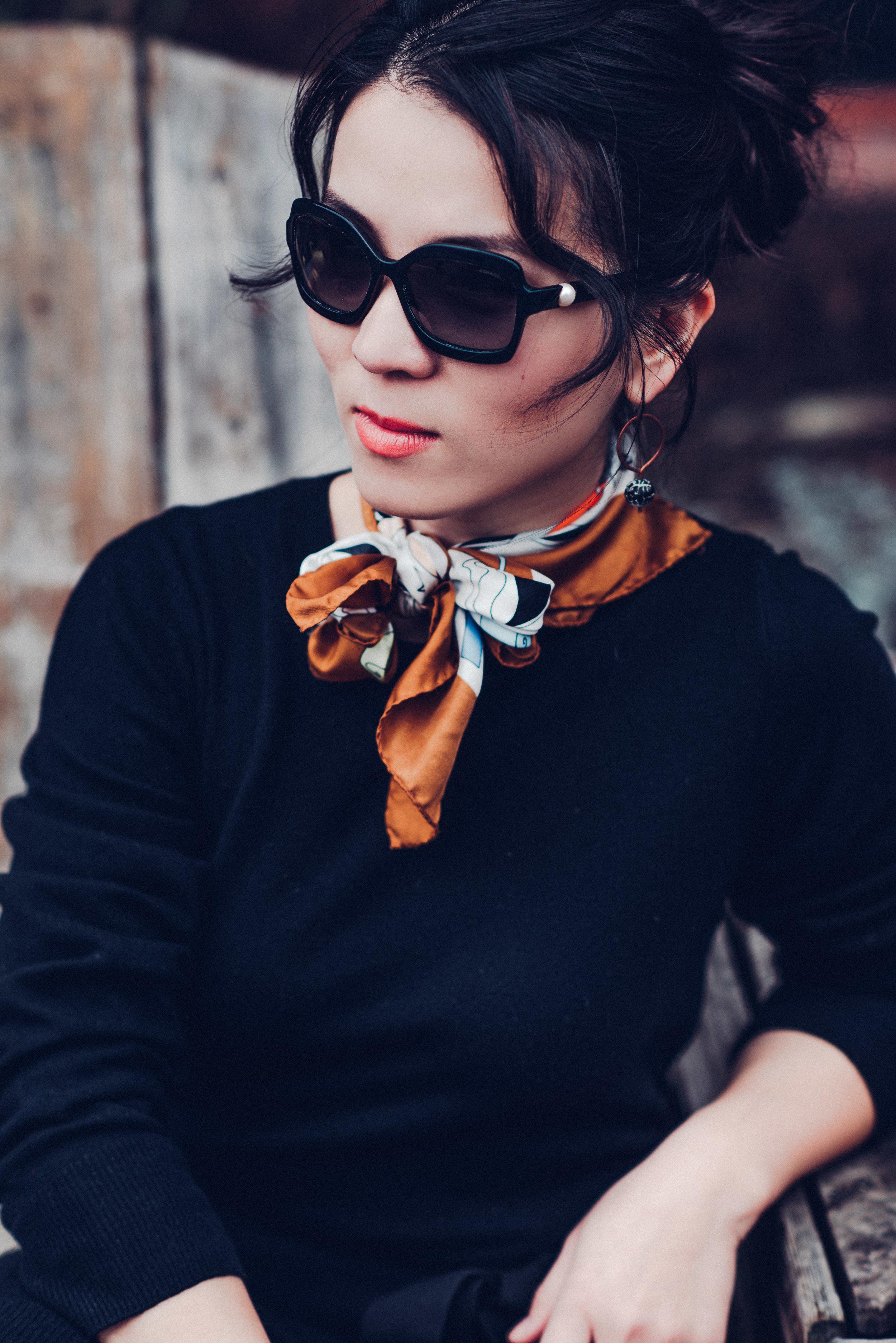Black sandro sweater dress with scarf-8141
