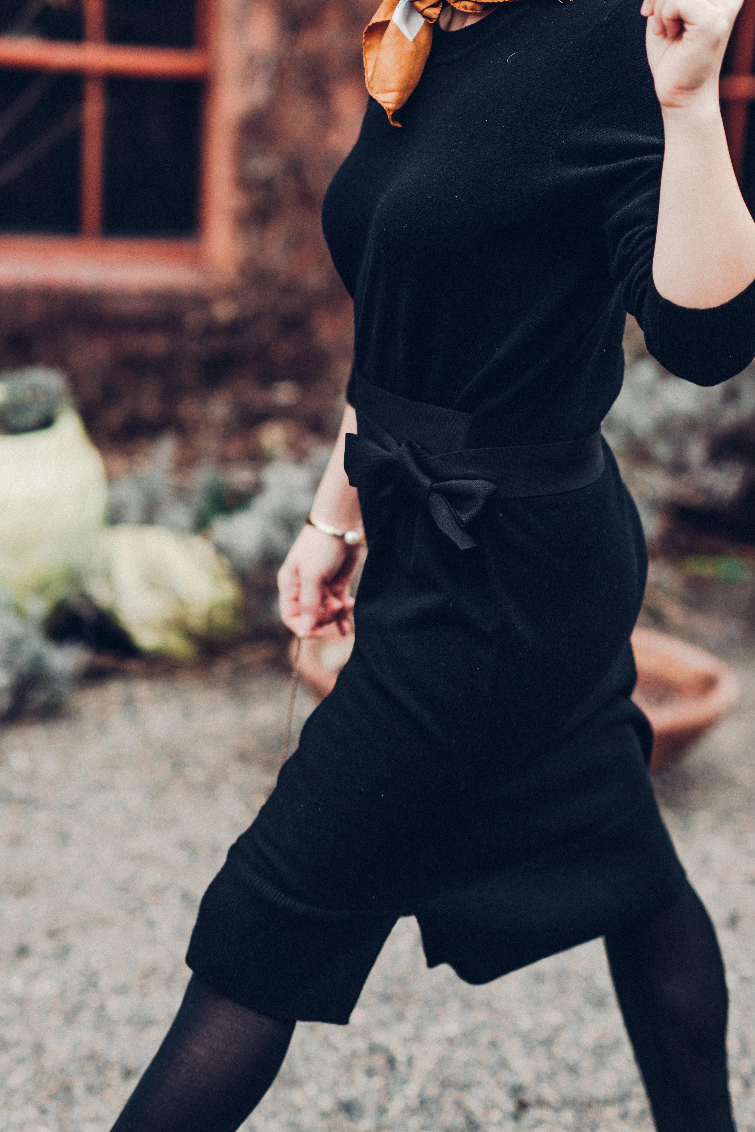 Black sandro sweater dress with scarf-8190