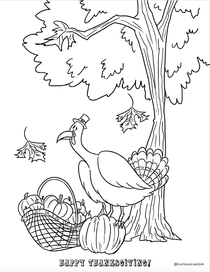 - Free Thanksgiving Coloring Page — Custom Coloring Books Curious Custom  Made In The USA