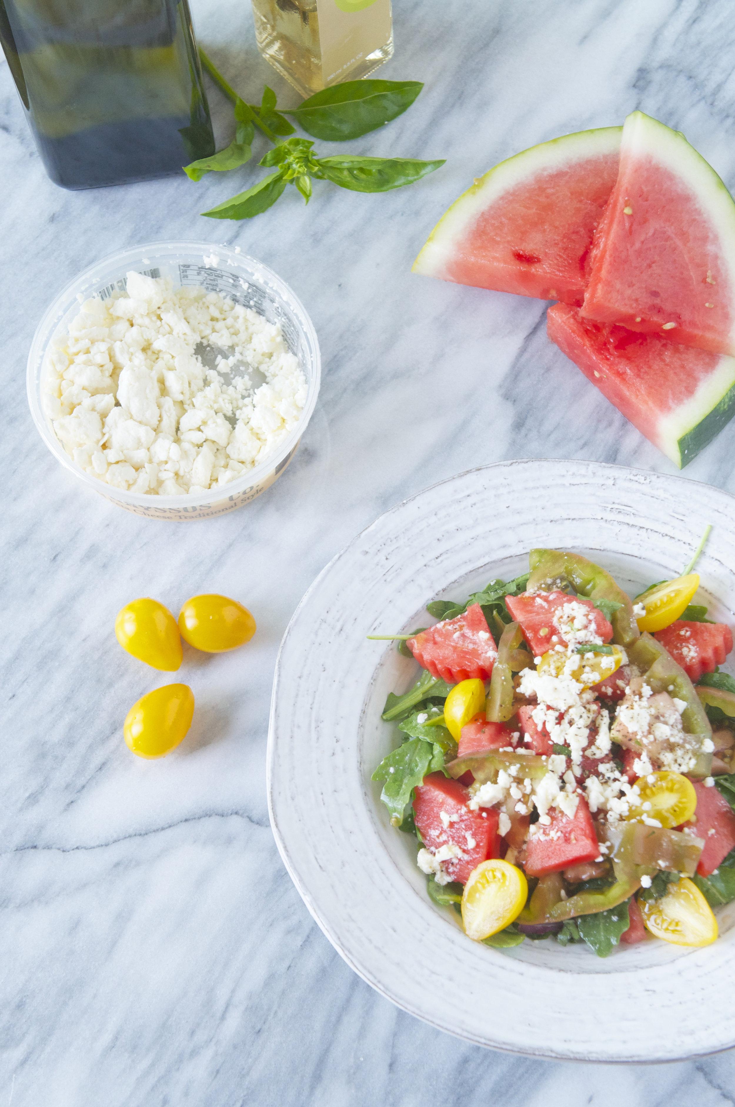 Watermelon, Tomato, and Feta Salad