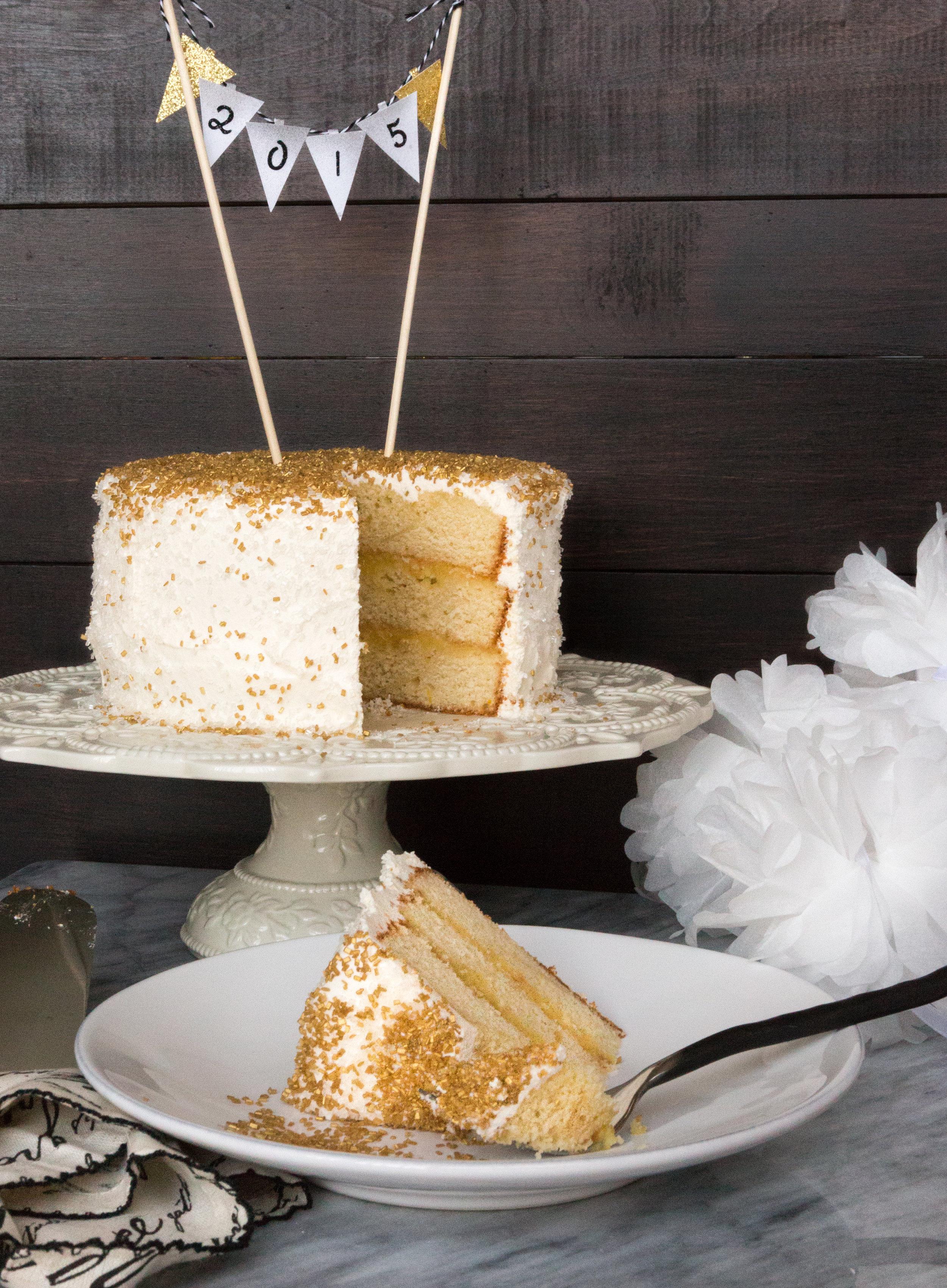 NYE Layer Cake with Lemon Curd