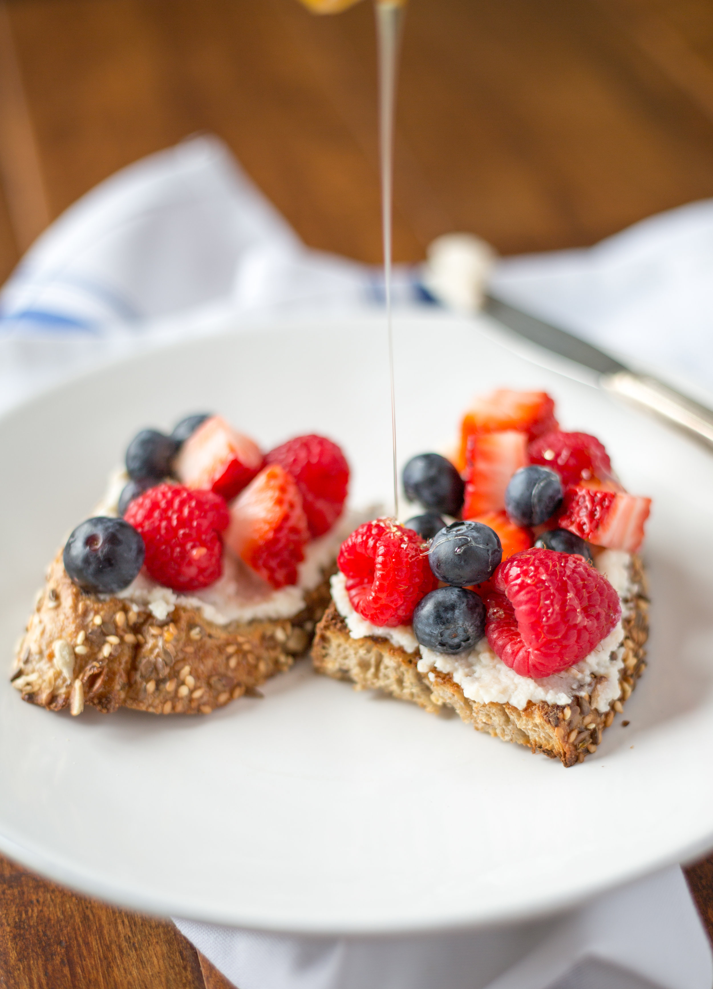 Breakfast Ricotta Toast with Fresh Berries and Honey | Soymilk + Honey