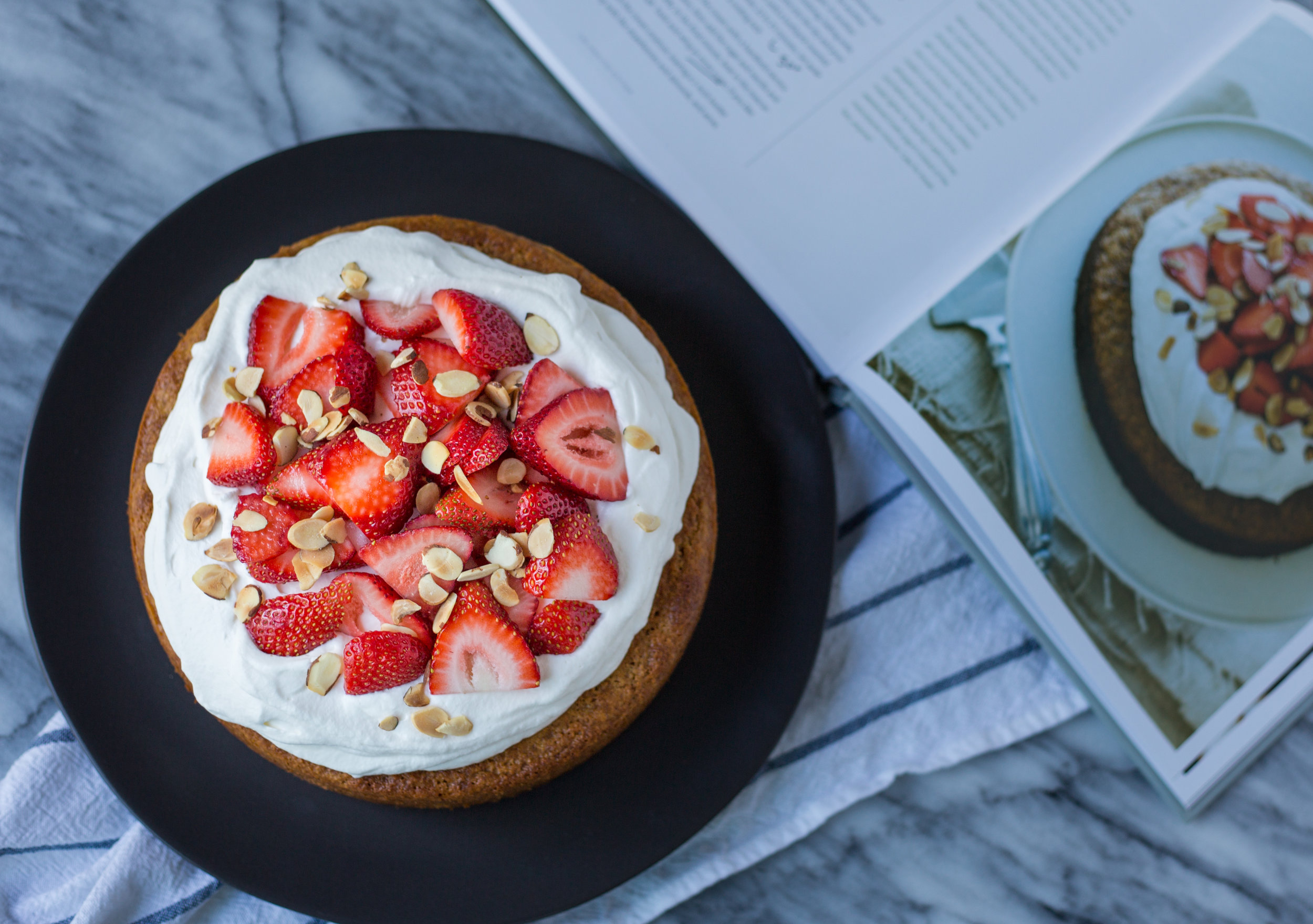 Almond Meal Cake with Strawberries and Mascarpone Whipped Cream
