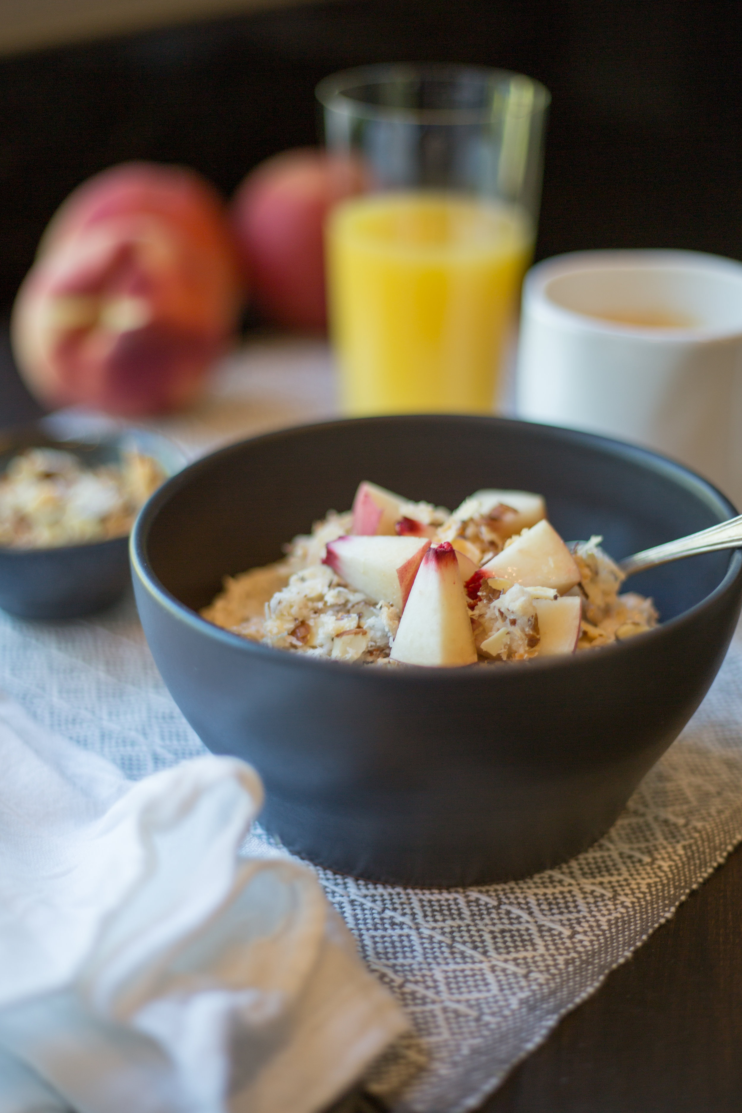 Bircher Muesli with Fresh Peaches and Coconut-Almond Crumble | Soymilk + Honey