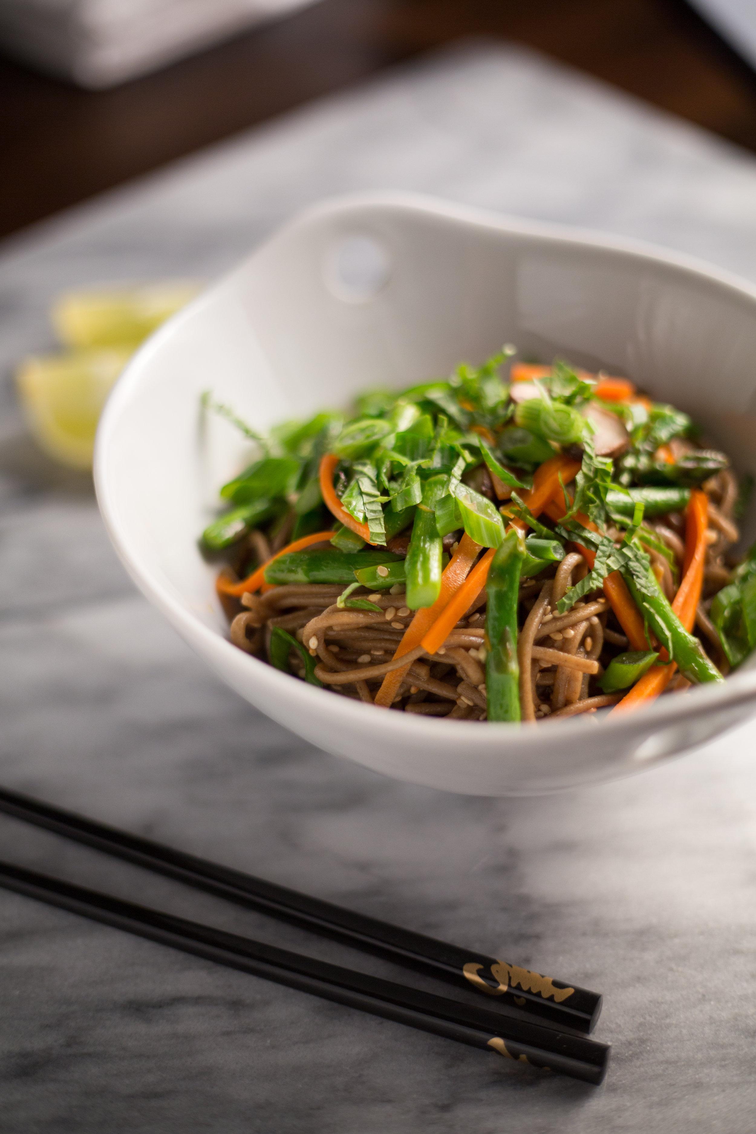 Sesame Soba Noodles with Mushrooms | Soymilk + Honey