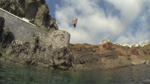 cliff jumping santorini