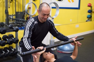 Lead Portland personal trainer, Peter Fuller, showing us how to spot a client correctly