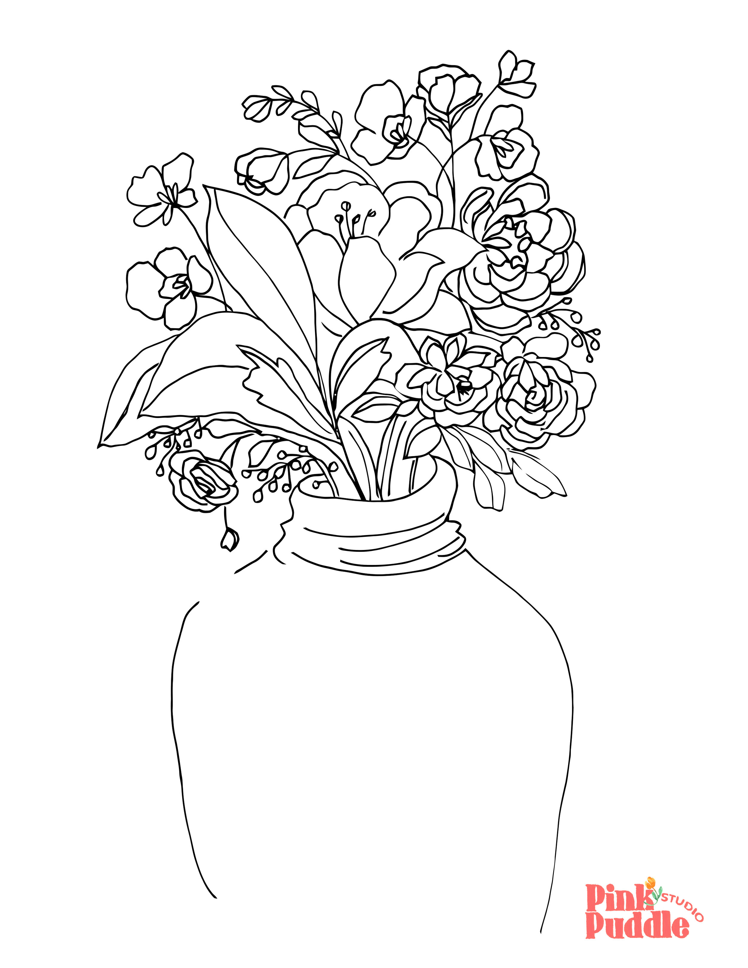 - Flowers In Vase Coloring Page — Pink Puddle Studio