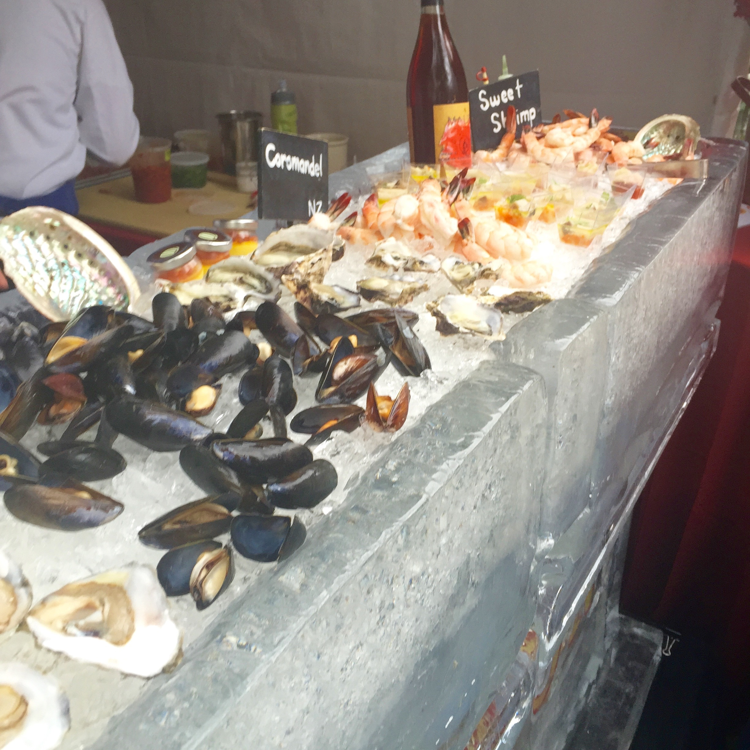 Unbelievable seafood bar featuring fresh oysters, mussels, and shrimp - brought to you by Bouchon Bistro.