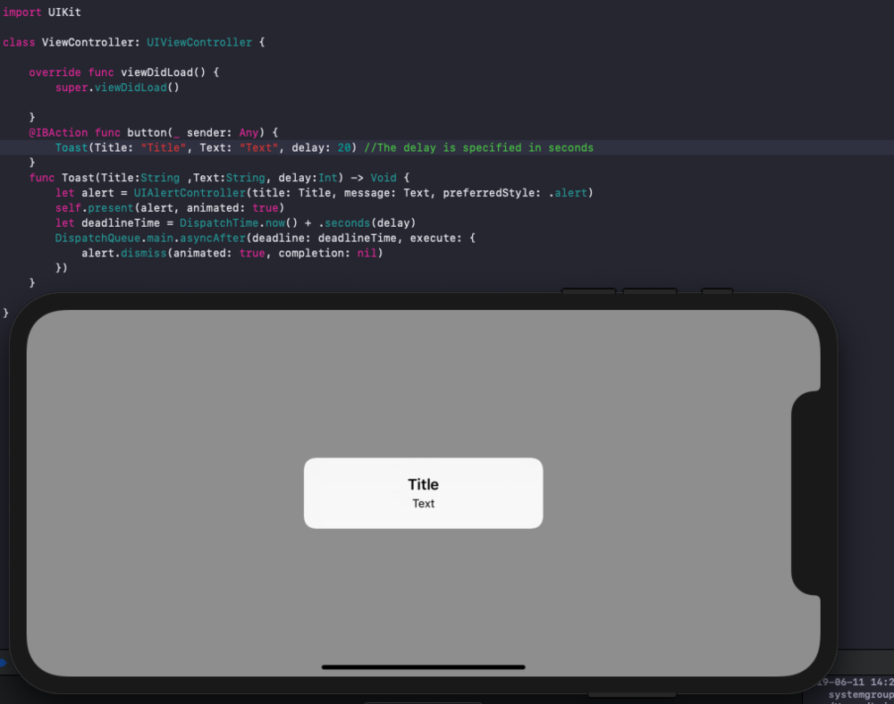 Creating a Toast Message in IOS with Swift — The Mobile Entity