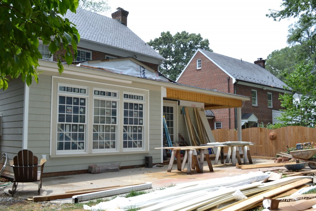 All trim work is being staged on the patio area, ready to be cut & installed.