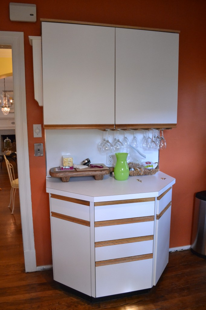 This set of cabinets is against the wall that will be removed during the renovation to allow for a larger, more open kitchen.