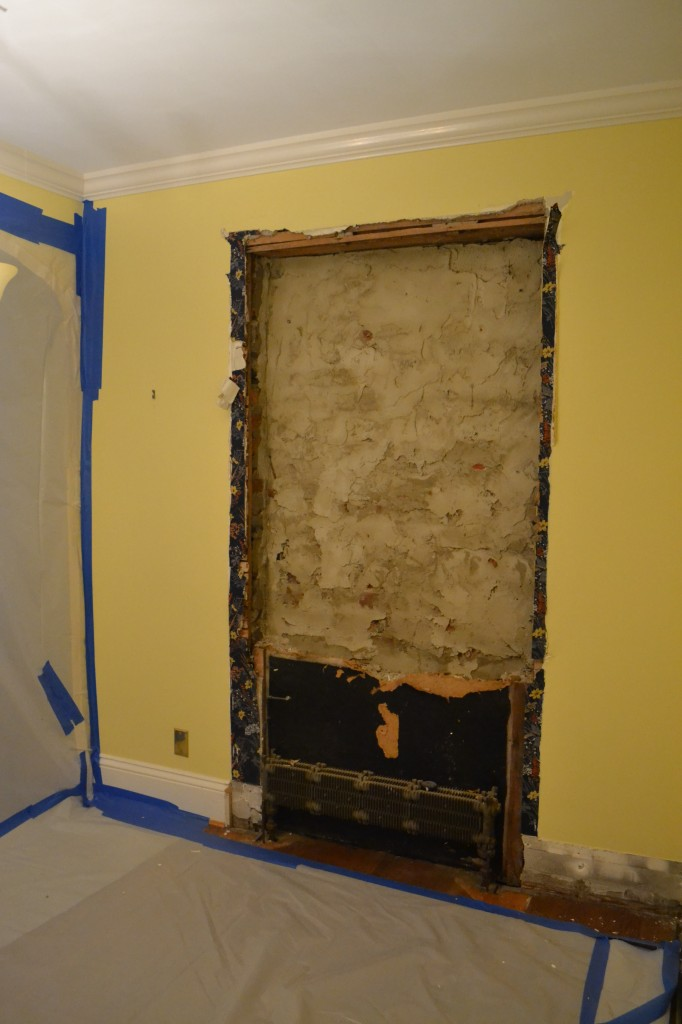The built-in cabinet in the dining room is gone too! We are making room for better storage and more countertop space.