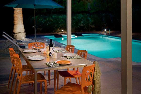 Dining Outside in Palm Springs, Mid-Century Modern Home