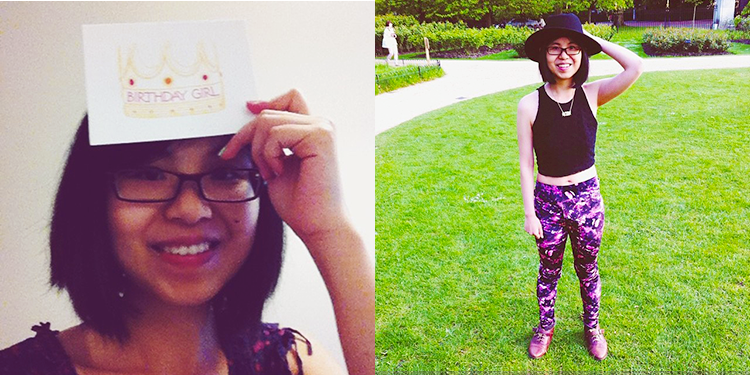 Birthday card and floral outfit at Regent's Park, London