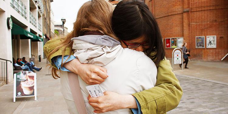 Best friend hug