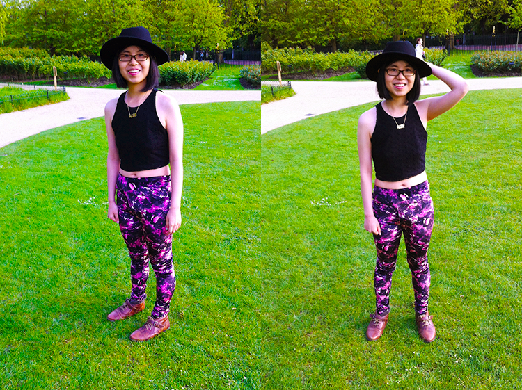 Outfit with Topshop floral leggings and Forever 21 crop top in London
