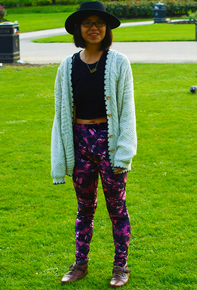 Outfit with Topshop floral leggings in London