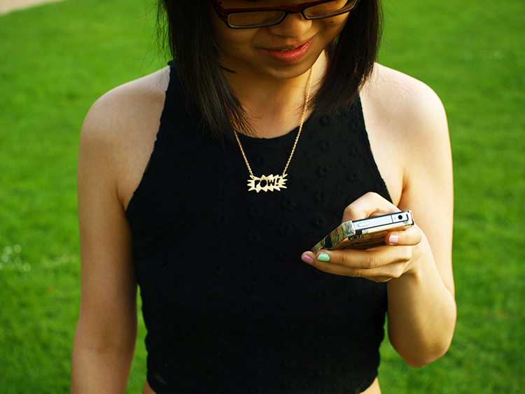 Outfit with Topshop floral leggings, Forever 21 crop top, Urban Outfitter Necklacke in London