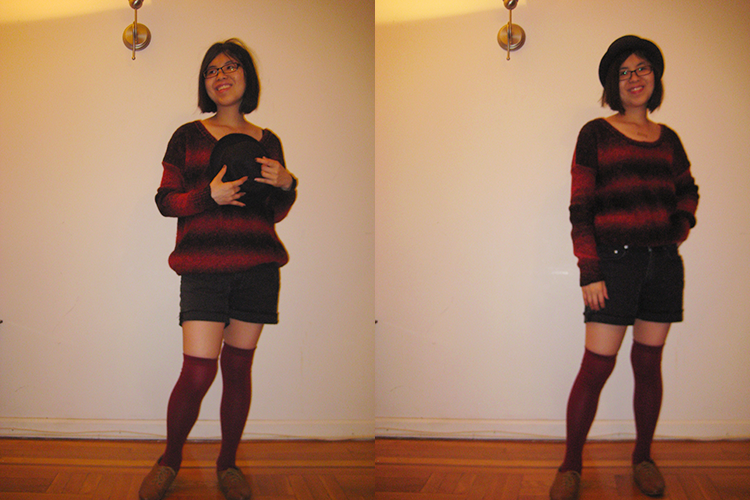 Oversized sweater, shorts, and knee high socks