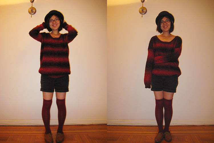 Oversized sweater, shorts, and knee high socks with bowler hat