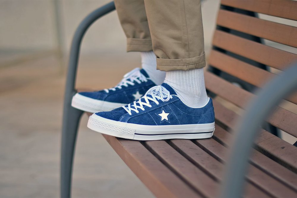 Off Converse One Star 74 Navy Suede Low