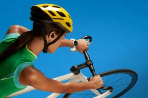 Woman on bicycle wearing the Moto 360 Sport smartwatch