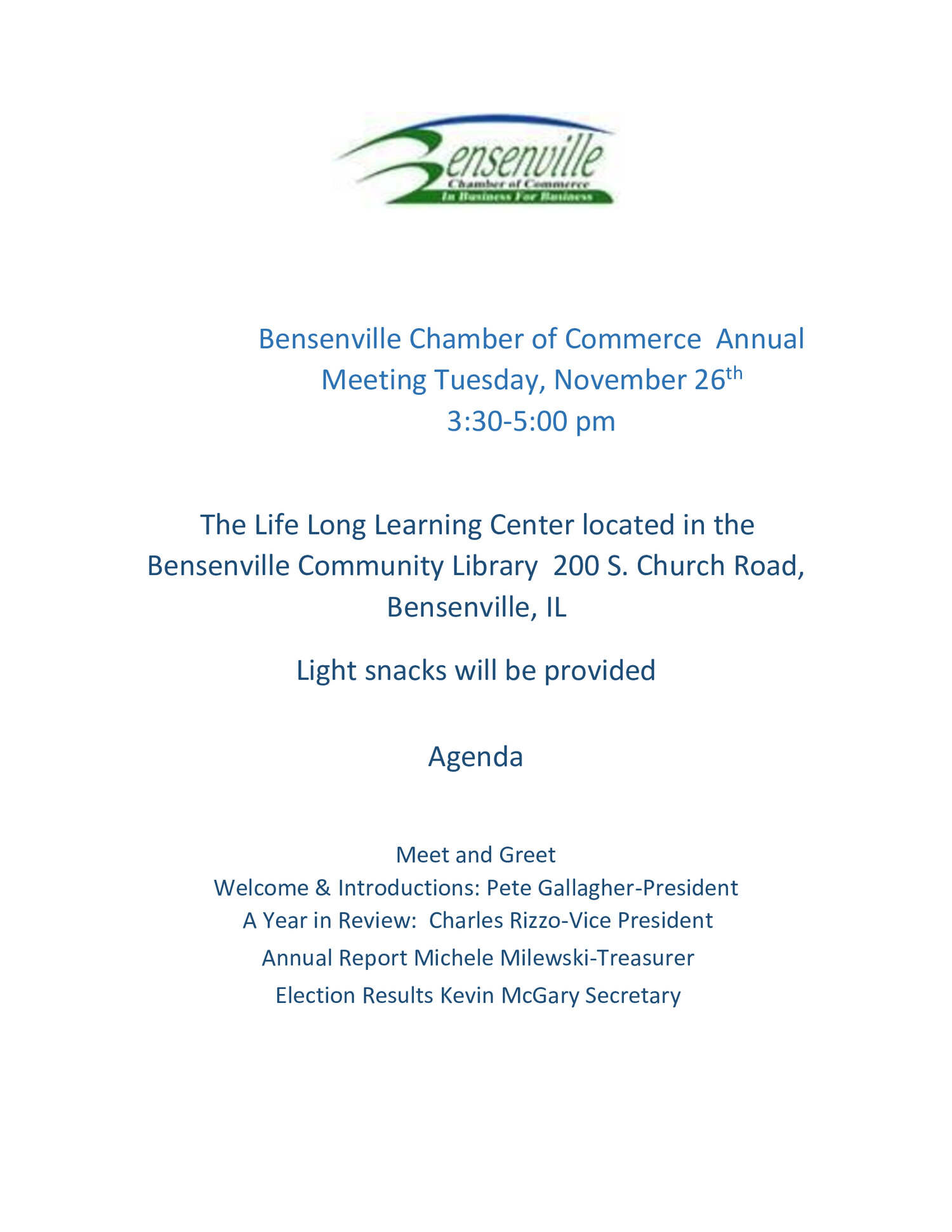 Bensenville Chamber of Commerce Annual Meeting —The Bensenville Chamber of  Commerce