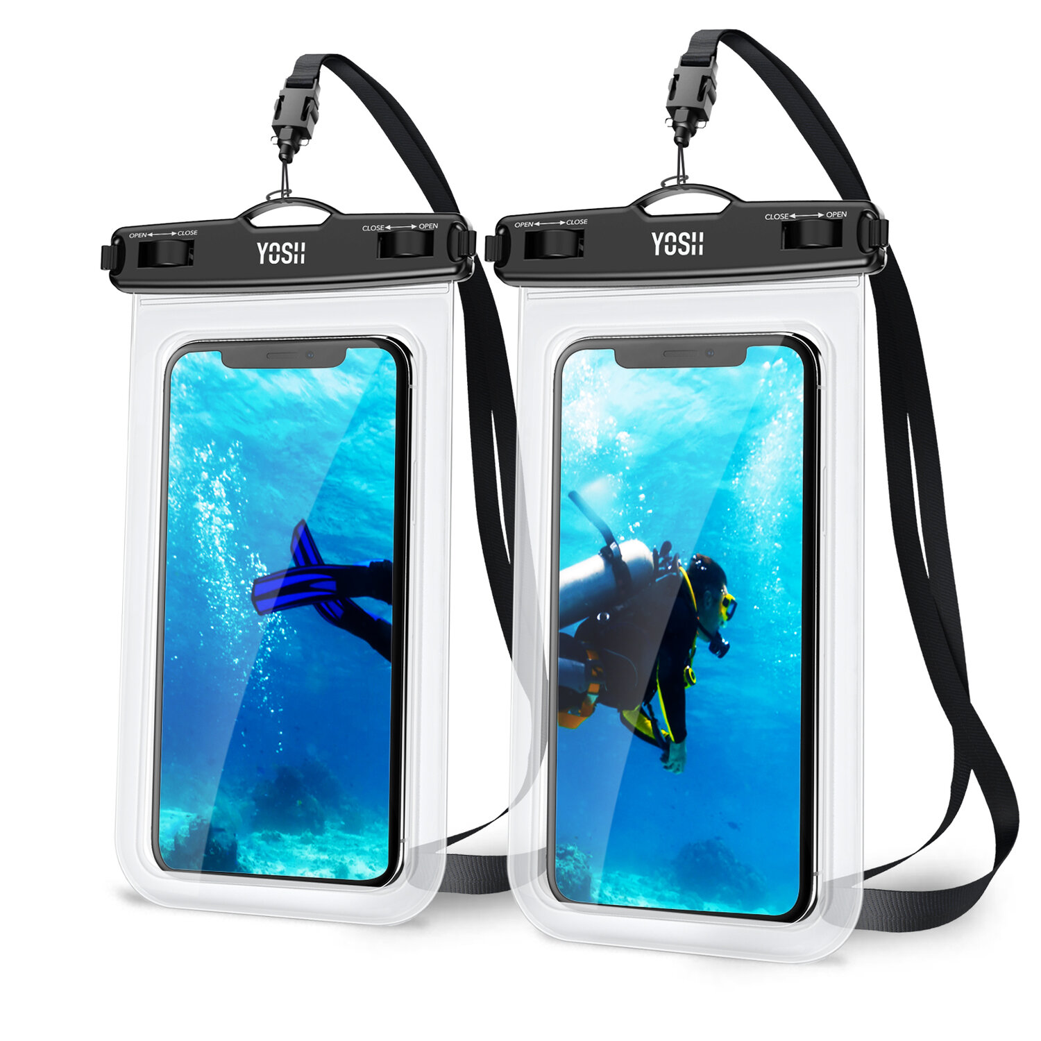 huge discount 73b1f dfcfe Waterproof Phone Case Cell (Clear 2-Pack)