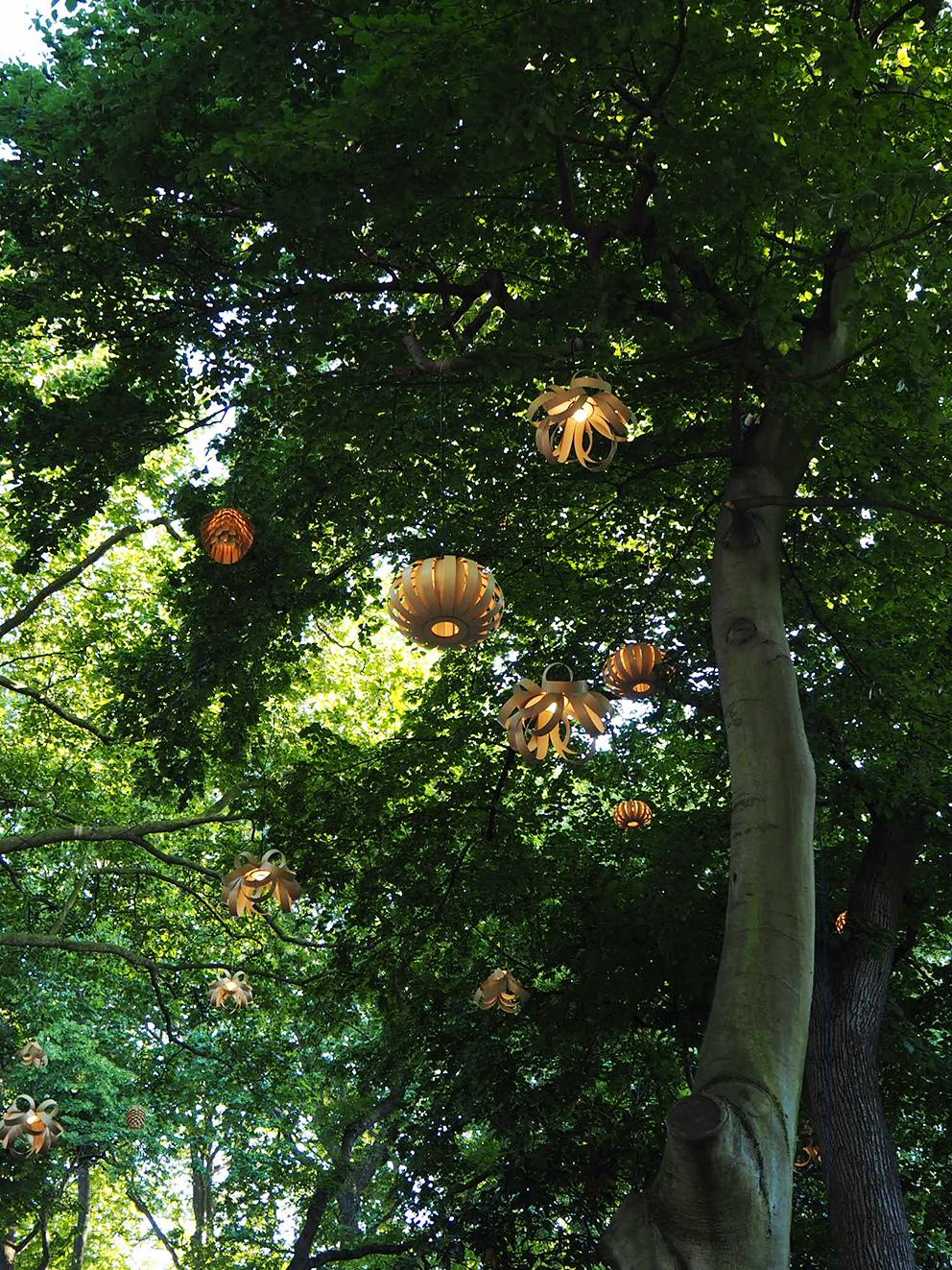 French For Pineapple Blog - RHS Chelsea Flower Show 2017 - Tom Raffield Lights In Trees At Dusk