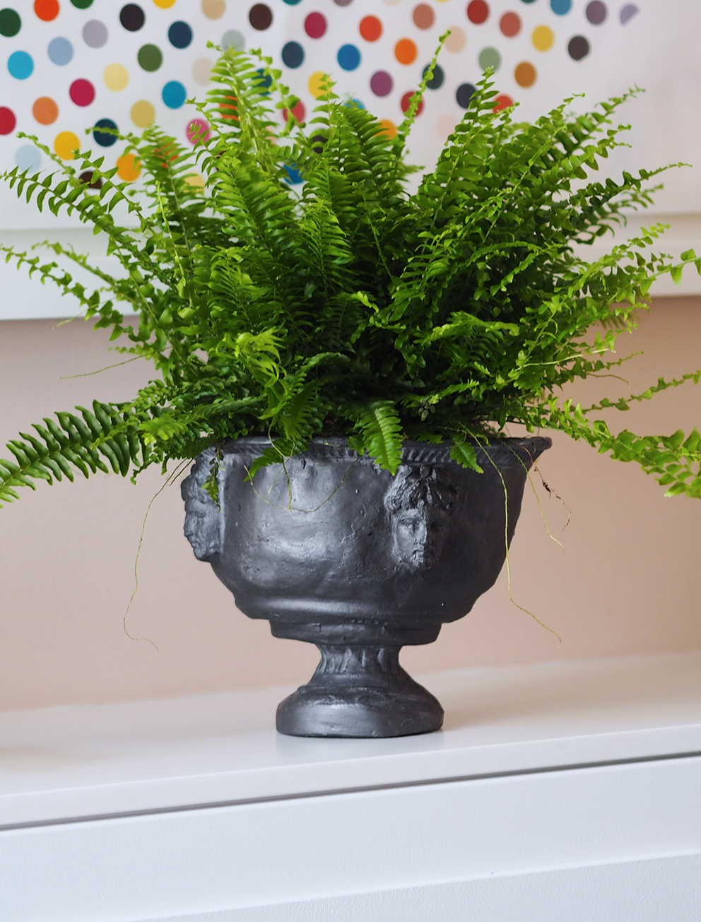 My Summer Dining Room - French For Pineapple Blog - boston fern in a decorative urn planter