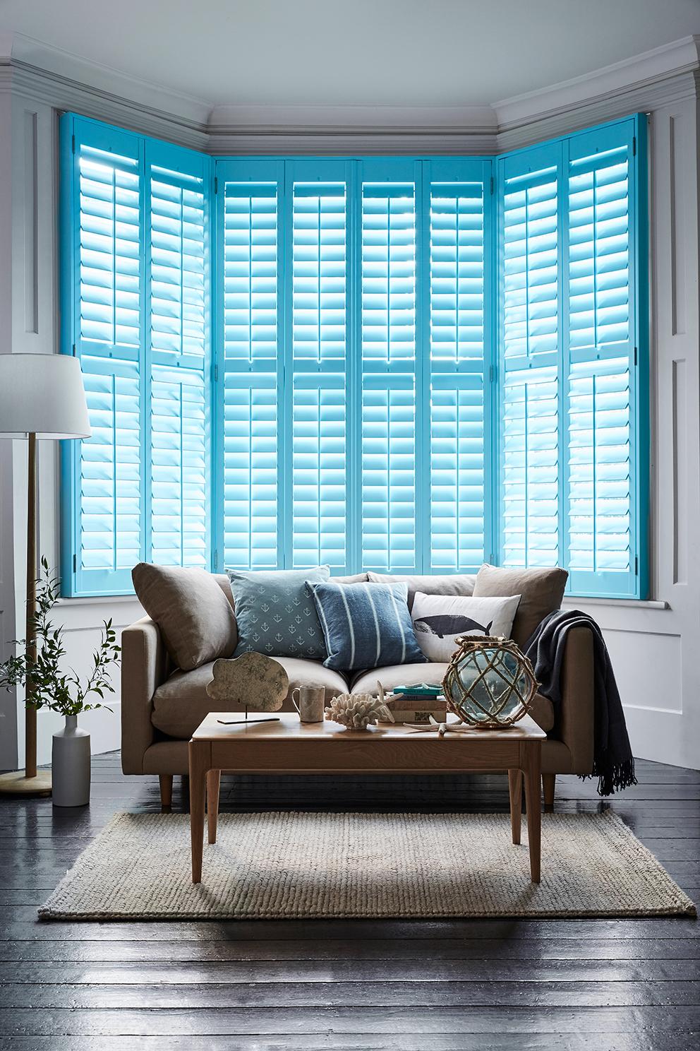 Shutterly Fabulous - French For Pineapple Blog - Full lenghth blue plantation shutters in bay window