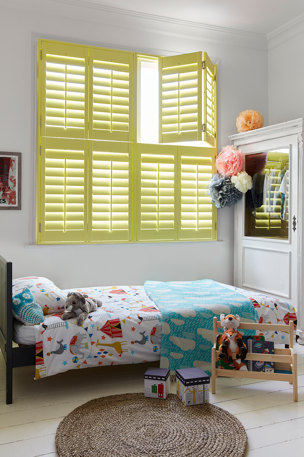Shutterly Fabulous - French For Pineapple Blog - yellow plantation shutters in childs bedroom